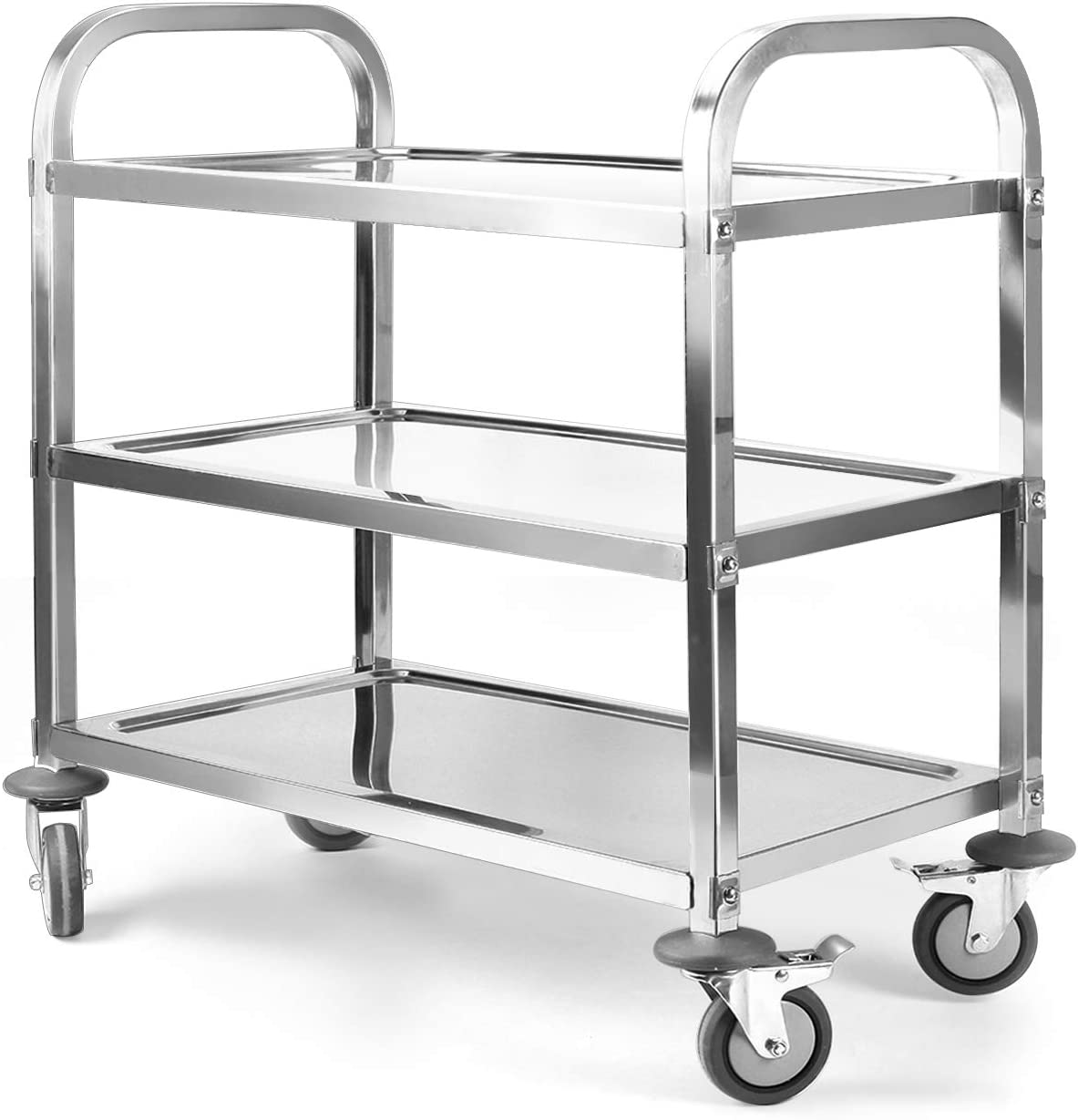 tonchean 3 Tier Shelf Kitchen Cart Trolley Utility Rolling Serving Catering Storage with Locking Wheels for Kitchen Restaurant Hotel Cafe Home