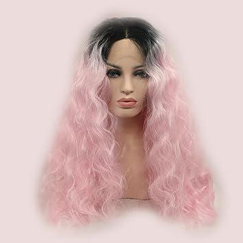 SHKY negro/color de rosa Ombre rizado sintético de encaje Pelucas frontales de onda de