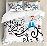 Ambesonne Wedding Decorations Duvet Cover Set, Mr. and Mrs. Swirled Branches with Red Hearts and Two Birds Love Valentine's, 3 Piece Bedding Set with Pillow Shams, Queen/Full, Red Blue Black
