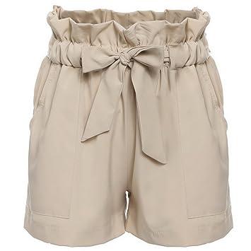 d9c33cf869 Womens Summer Hot Pants Casual Loose Shorts Bow Beach High Waist ...