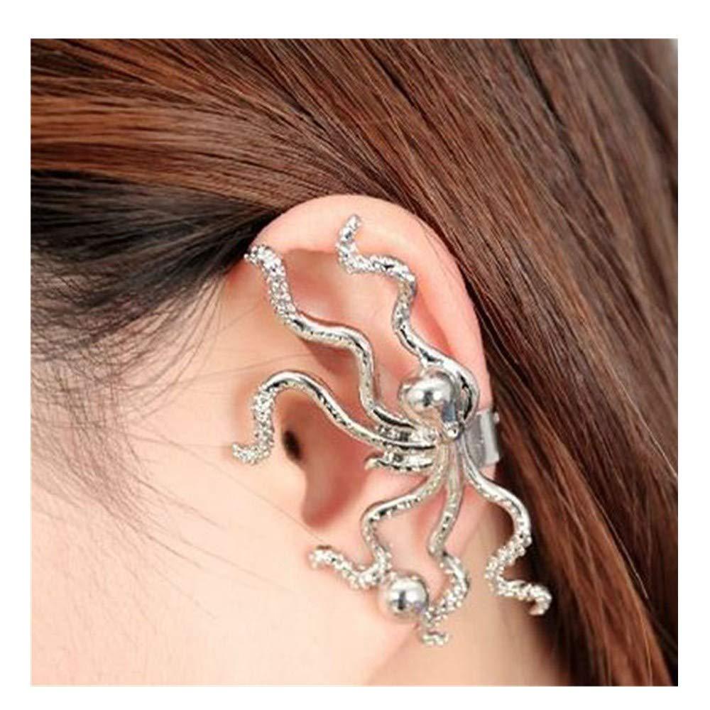 callm Women Ladies Earrings,1PC New 2019 Tone Ear Wrap Cuff Octopus Single Earrings Non Piercing Clip On Silver (Silver)