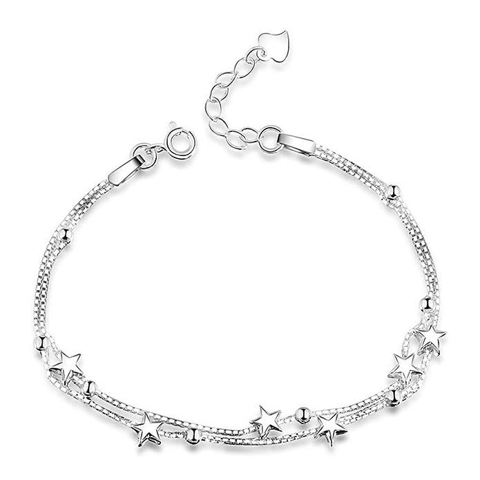 51e30c742d1 Mini étoiles élégant Perles Bracelet à breloques argent sterling 925 Boîte  Chaîne Layered Bracelet pour femme Dainty Bijoux  Amazon.fr  Bijoux