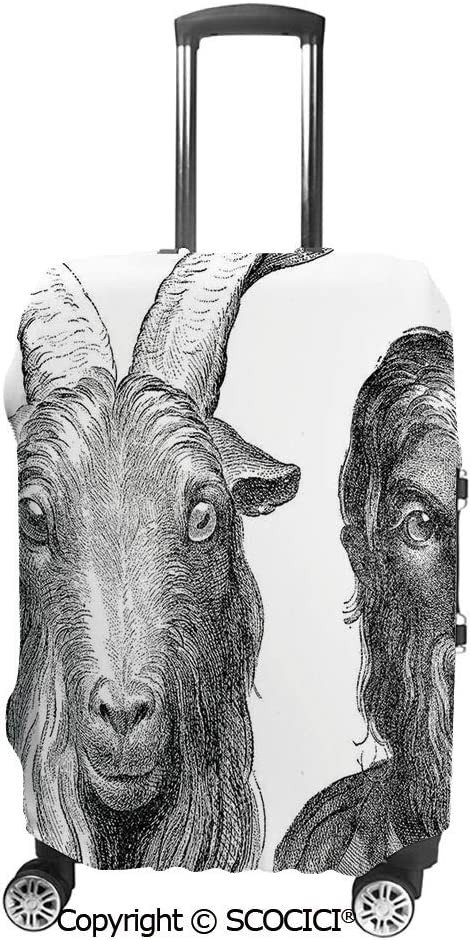 Scocici Luggage Suitcase Elastic Protective Covers Goat und Mann Resemblance Vintage Drawing Ruminant Ethnology Historic Ancient für Männer Women Travel Business