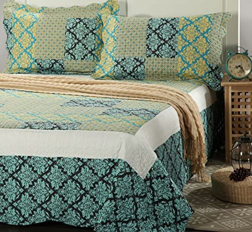 Tache Home Fashion SD3300-Queen Damask Turquoise Reversible Bedspread Quilt Set, Queen