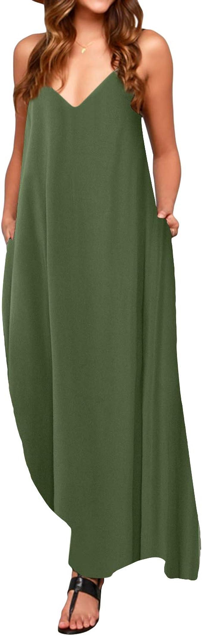 TALLA XL. ACHIOOWA Mujer Vestido Elegante Casual Dress Cuello V Sin Manga Playa Tirantes Bolsillos Punto Falda Larga Verde XL
