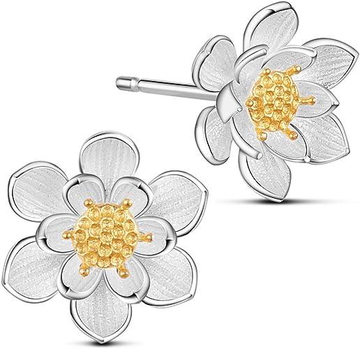 regalo de boda para mujer Pendientes chapados en oro de plata de ley 925 con dise/ño de flor de rosa para orejas sensibles