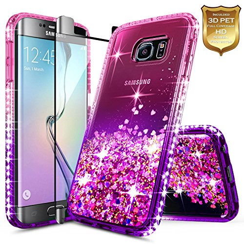 Galaxy S6 Edge Case w/[Full Cover Screen Protector Premium Clear], NageBee Glitter Liquid Quicksand Waterfall Flowing Sparkle Bling Diamond Girls Cute Case for Samsung Galaxy S6 Edge -Pink/Purple