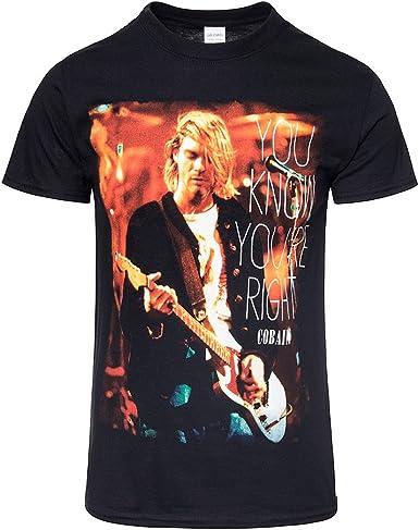 Kurt Cobain Nirvana oficial derecho Rock Tee Camiseta Ropa para hombre señoras para mujer Unisex negro negro XXL: Amazon.es: Ropa y accesorios