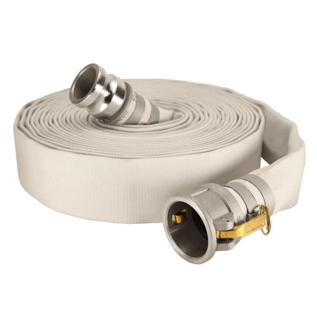 Anderson Process 3'' X 50' Layflat White Mill Water Discharge Hose Assembly w/ Cam Lock Fittings