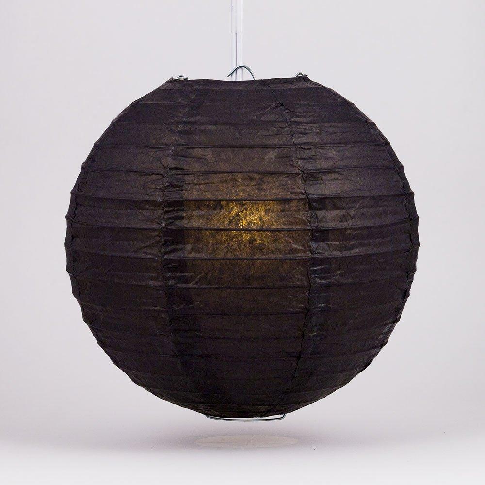 Quasimoon PaperLanternStore.com 10'' Black Round Paper Lantern, Even Ribbing, Hanging Decoration