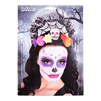 Bijou de tête fête des morts Halloween Bijoux de cheveux de fleur Sugar  Skull couronne Calavera