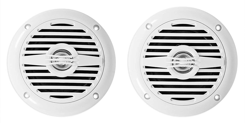 Pair Rockville MS40W White 4 200 Watt Marine Boat Speakers Compact and Powerful