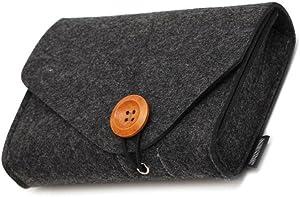 Pochette Hinmay en feutre pour ranger des accessoires (souris, téléphone portable, câbles, SSD, boîtier de disque dur, batterie portable , etc) - 16 cm Deep Gray