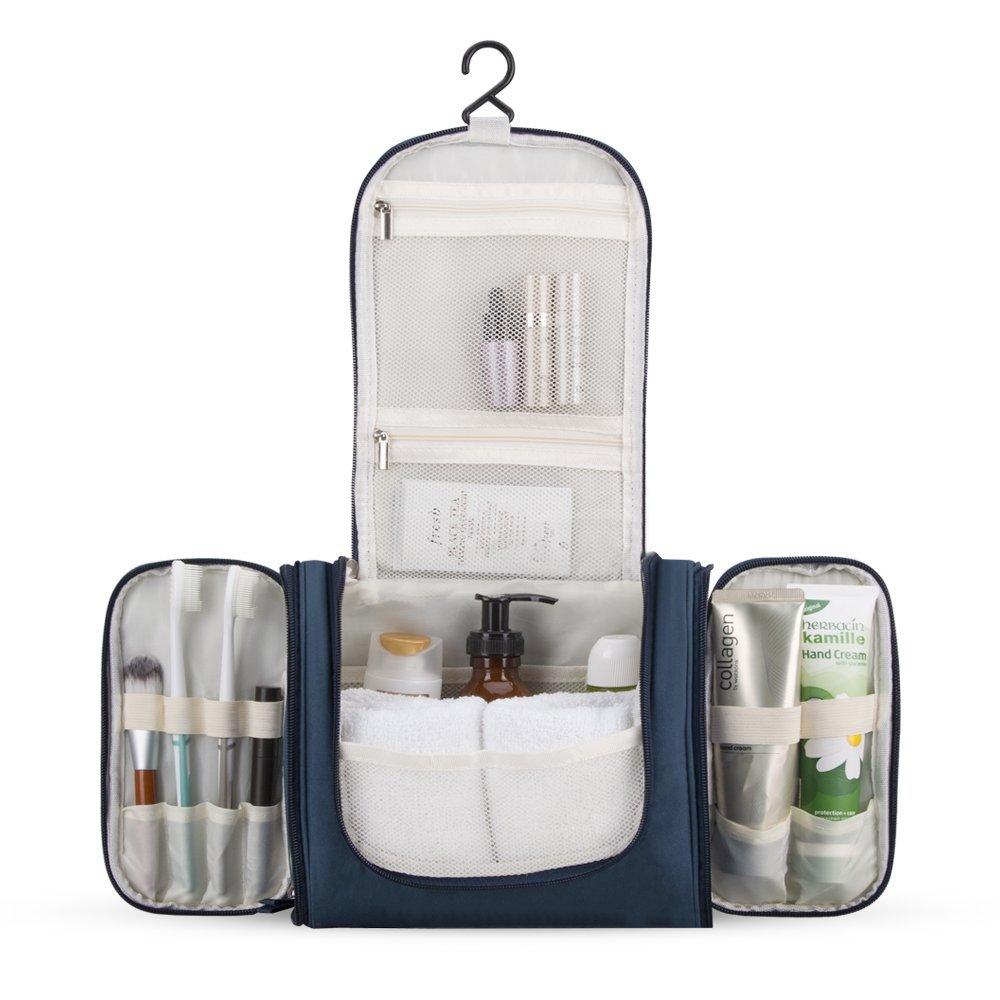 AGPTEK Beauty Case da Viaggio, Borsa per Toilette Impermeabile con Gancio e Maniglia per Organizzare Accessori Bagno, Trucco, Cosmetici, kit di Rasatura e Creme ect, (Blu Scuro) HTB01DB