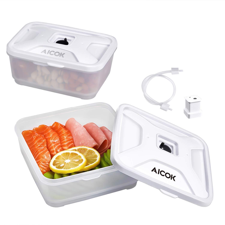 Aicok Set Universale con 2 Contenitori per Macchine Sottovuoto Alimenti, 600 ml e 800 ml
