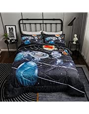 WINLIFE Printed Comforter Set Twin/Queen/King, 3-Pieces 100% Microfiber Filling Super Soft Quilt Set for All Season, Easy Care Washable Duvet Bedding Set