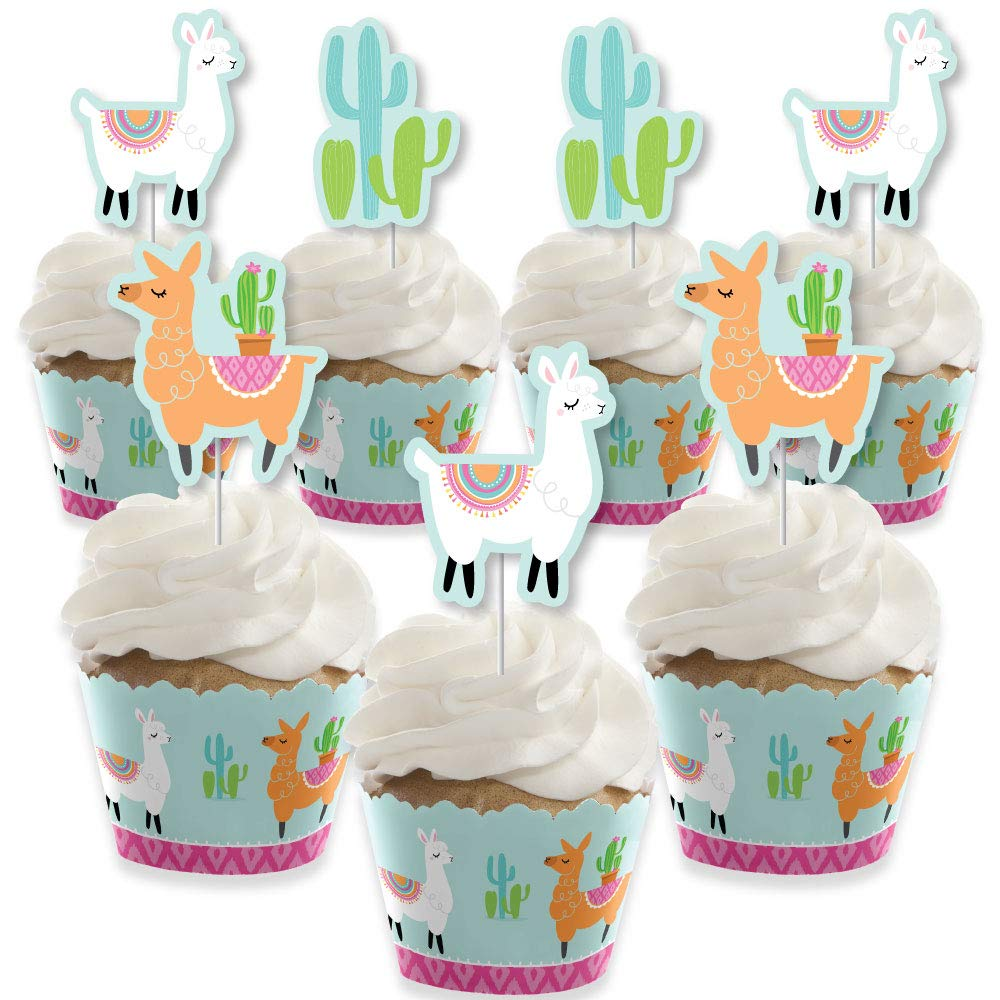 Whole Llama Fun - Cupcake Decoration - Llama Fiesta Baby Shower or Birthday Party  Cupcake Wrappers and Treat Picks Kit - Set of 24 by Big Dot of Happiness