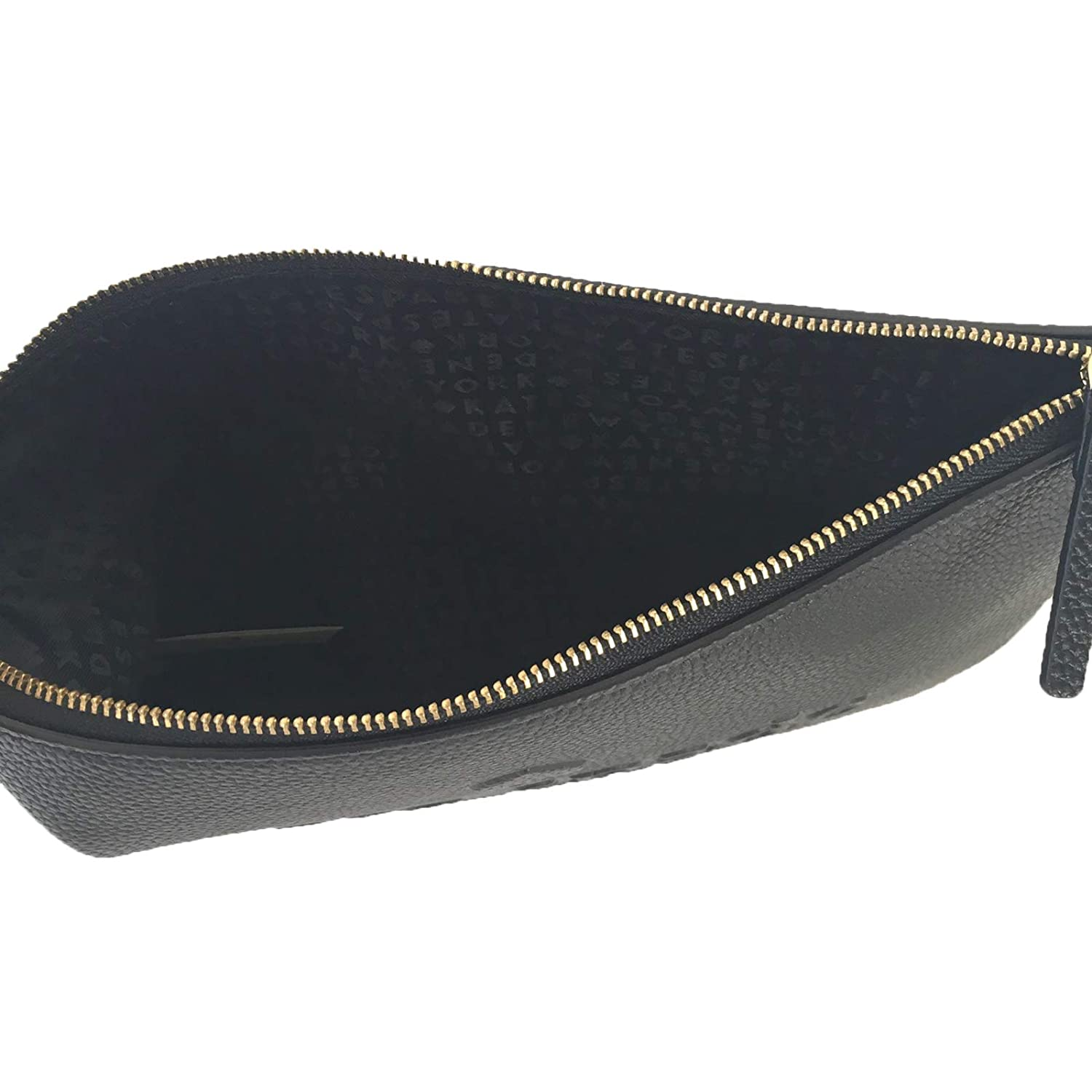 4ea5876b7 Amazon.com: Kate Spade Gia Large Pouch Soft Pebbled Leather Logo Embossed  Clutch Bag Black: Shoes