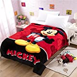 """HOLY HOME Children's Flannel Fleece Blanket Throw Anime Figures 60""""x80"""" Big Mouth Mickey"""