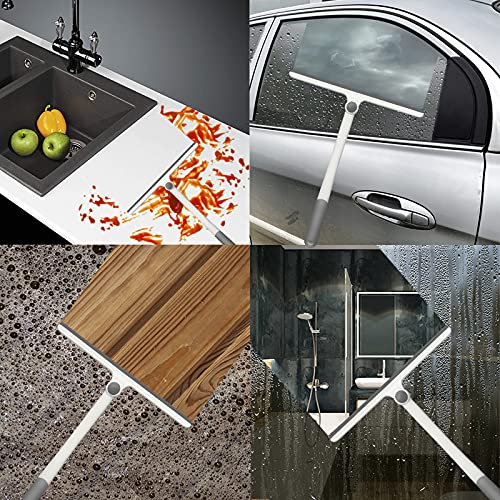 Neilgo 2 Pack Shower Squeegee for Glass Doors Silicone Window Squeegee Bathroom Squeegee All-Purpose Squeegee with Silicone Blade Non-Slip Handle (2 Pack White+White)