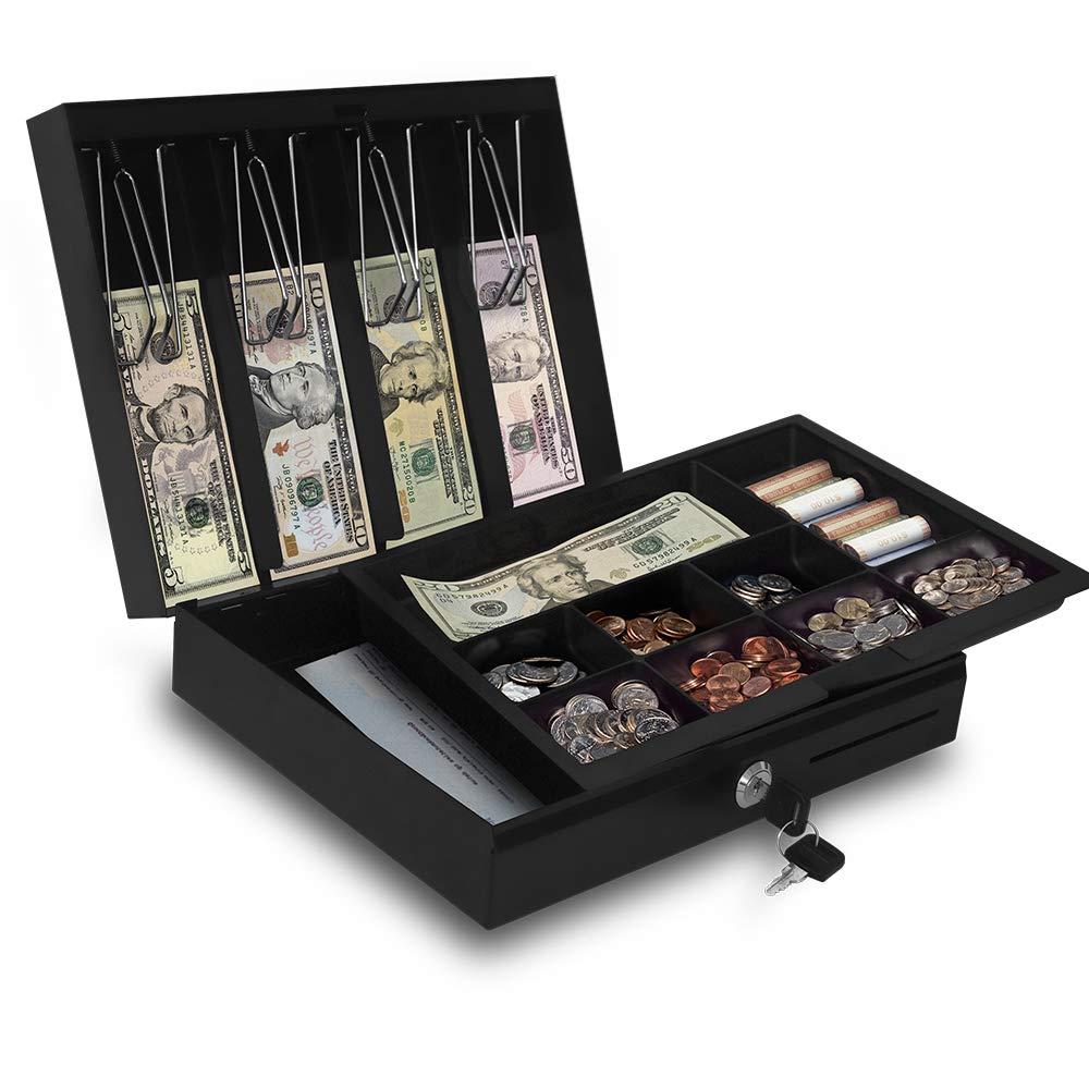 Beelta 小型キャッシュボックス マネートレイとロック付き 金庫 メタル 長さ11.8×幅9.6×高さ3.6インチ BCB300B B07GK31CLZ