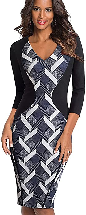 Vintage Optical Illusion Cobbled Wear Work Vestidos Bodycon Office Pencil Dress
