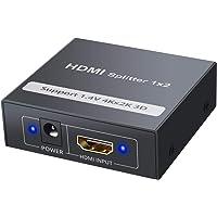 CAMWAY HDMI Splitter 1 in 2 Uit 1x2 Poorten Doos met HDMI-kabel Ondersteunt Ultra HD 4 K@30 HZ 3D 1080 P voor Xbox, PS4…