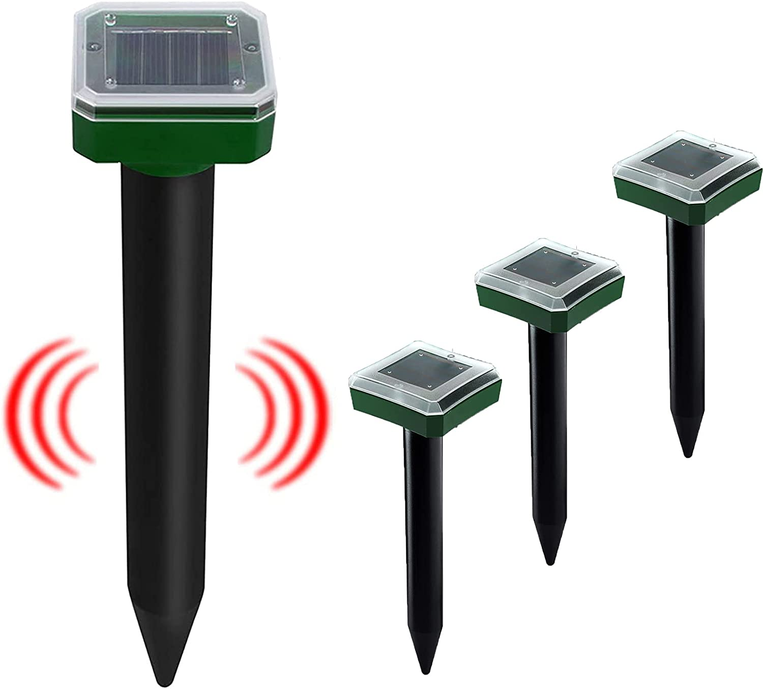 Yjoo 4-Pack Solar Powered Mole Repellent, Ultrasonic Mole Repeller - Outdoor Rodent Groundhog Gopher Chaser Spikes - Use for Lawn, Yard and Garden