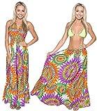 Halter Neck Beach Wear Dress Swimsuit Women Swimwear Cover Up Maxi Multi LARGE
