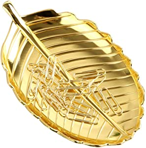 MultiBey Gold Plantain Leaf Tray Paper Clips Holder Dispenser Jewelry Candy Bowl Office Desk Accessories Organizer Home Decor