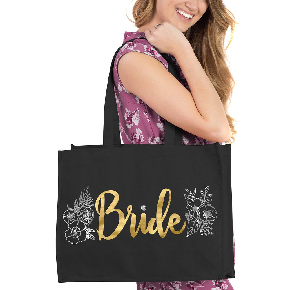 Gold Bride with Silver Floral Design Black Tote - Bridal Shower Gifts & Supplies - Black