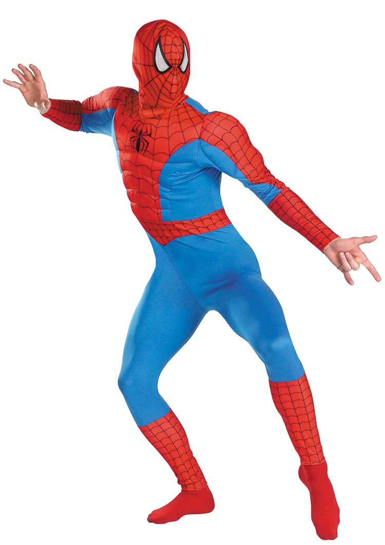 - 61C2h 2BLf9fL - Adult size Spider-Man Classic Muscle Adult Costume Fits Chest Sizes 42-46