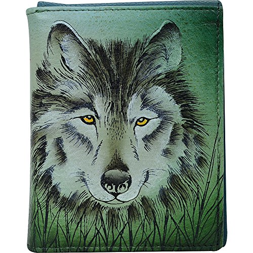 wolf Men Anuschka Hand wallet Wallet Painted Western Christmas 3004 Blocking gifts for Three fold and Leather men fillers WLF Designer slim for Stocking RFID rrq1wx