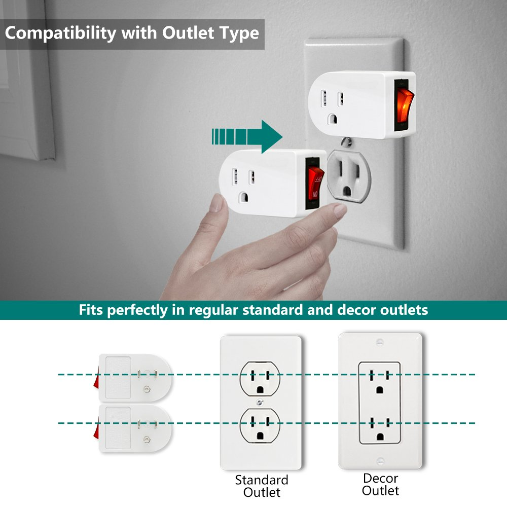 Grounded Outlet Adapter, ANKO ETL Listed Wall Tap Adapter with Red Indicator On/Off Power Switch (2 PACK) by ANKO (Image #3)