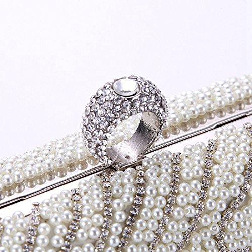 Beige artigianale da perline coreano borsa marea sera Vola in femminile Borsa Borsa nuova stile 8Uqpx
