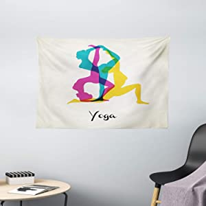 "Ambesonne Yoga Tapestry, Different Yoga Poses Energetic Female in Motion Pilates Human Health Well Being, Wide Wall Hanging for Bedroom Living Room Dorm, 60"" X 40"", Yellow Teal"