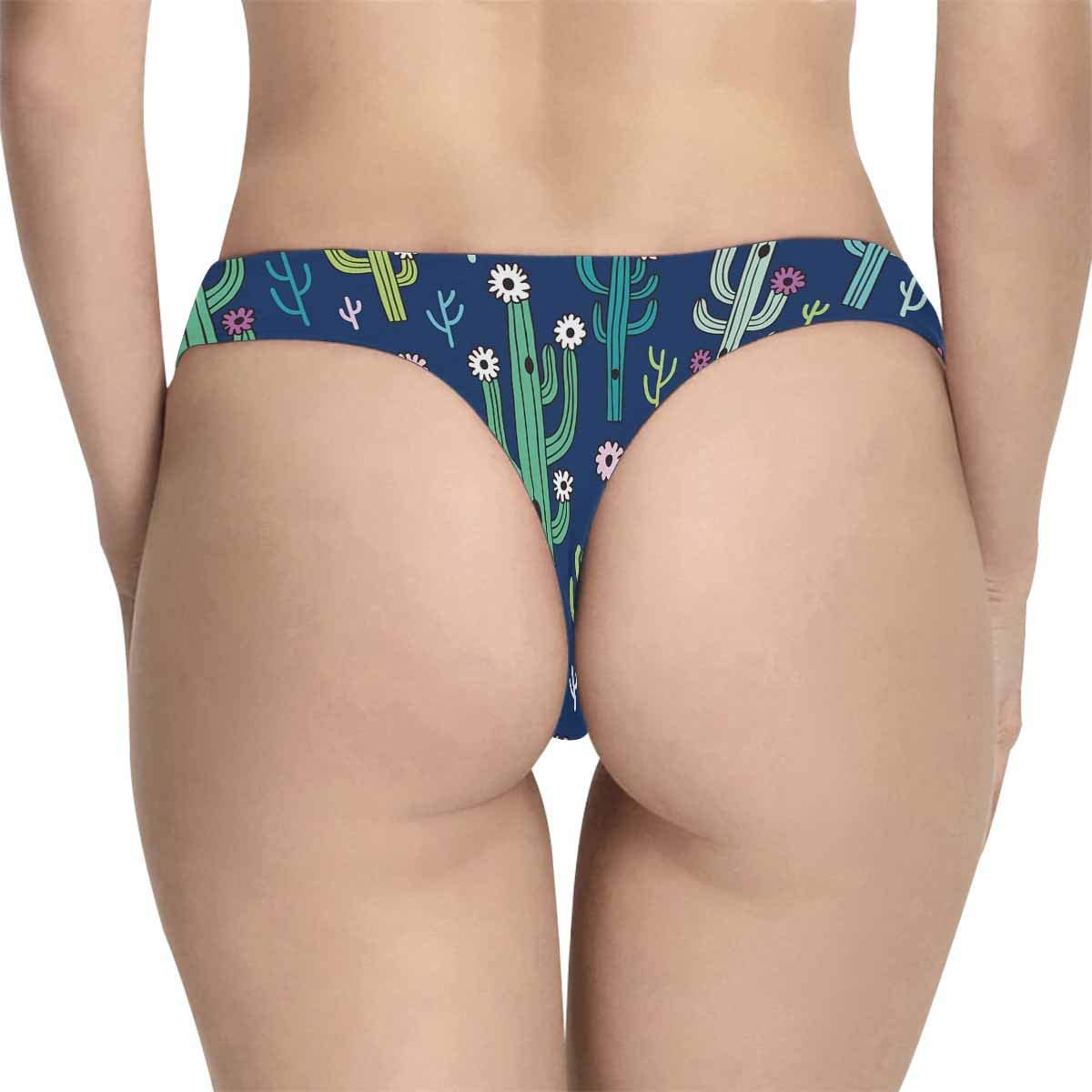 INTERESTPRINT Womens Underwear Panties Soft Thongs Cute Blooming Cactuses on Dark Blue Background