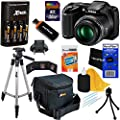 Nikon COOLPIX L340 20.2 MP Digital Camera Bundle with Batteries, Charger and Accessories (11 Items) - International Version