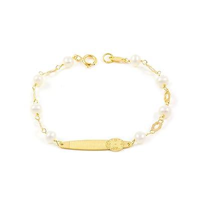 2f3a5036ae86 Monde Petit G1224PU - Pulsera Bebe Oro 18 Kts. chapa hora nacimiento y  perlas  Amazon.es  Joyería
