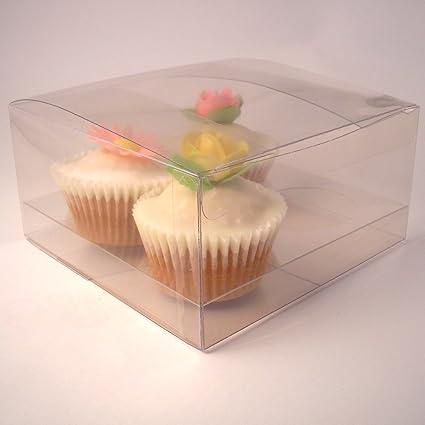 Pequeñas cajas de la magdalena caja de la magdalena clara de la compañía para 4 cupcakes