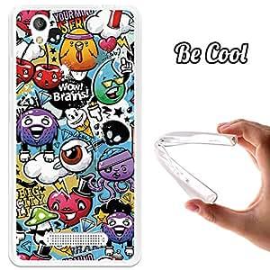 Becool - Funda gel flexible zte blade a452 grafiti de colores divertido carcasa case silicona tpu suave