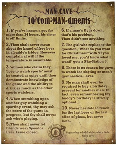 The Man Cave 10 ComMANdments Gameroom Bar Pub Novelty Tin Sign Tin Sign (Top Ten Chick Flicks Of All Time)