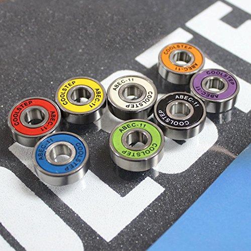 - 8 Pack ABEC-11 608ZB Skateboard Bearing High Speed Roller Skates Inline Skates Longboard Colorful Bearings Set