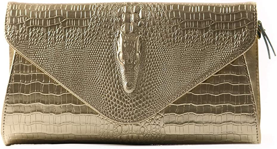 SILVEAM Leather Wallet Gold Envelope Clutch Purse Wristlet Bag Evening Clutch