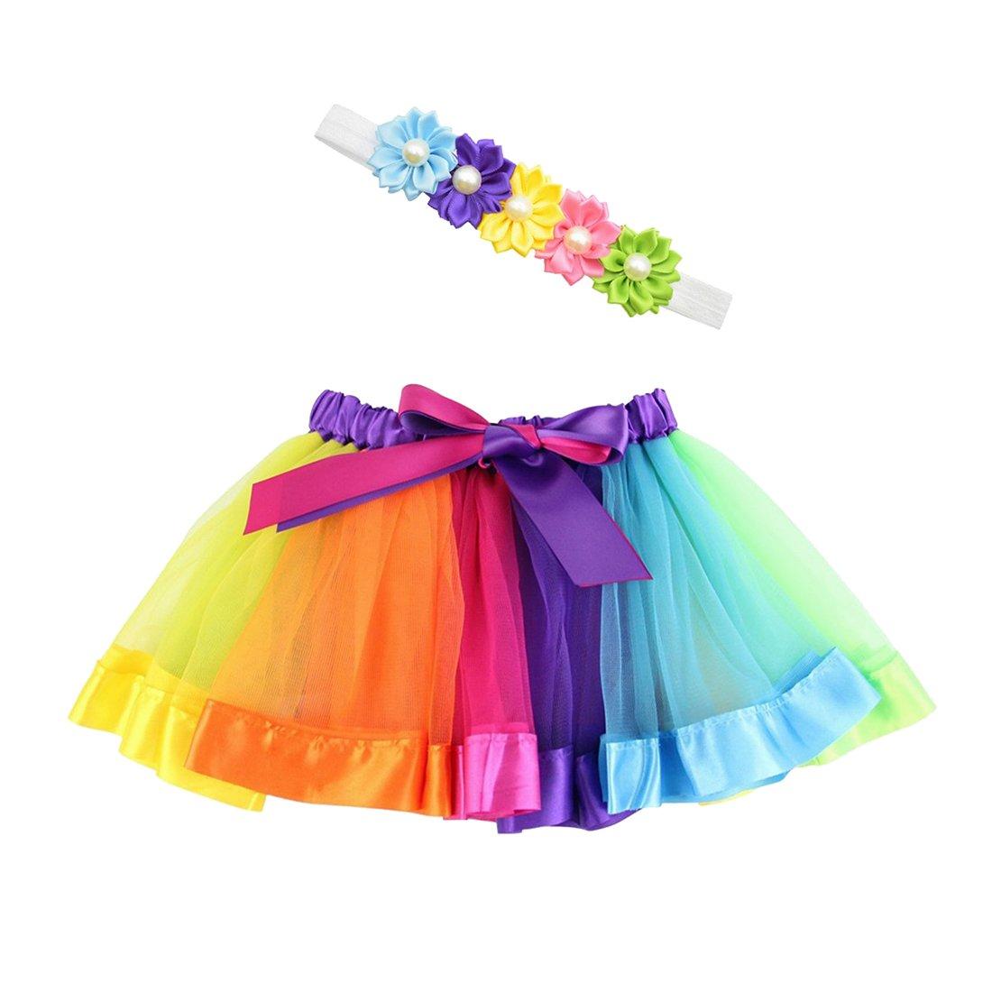 Maying Girls Layered Rainbow Tutu Skirt Dance Ballet Party Ruffle Dress Multicolor A)