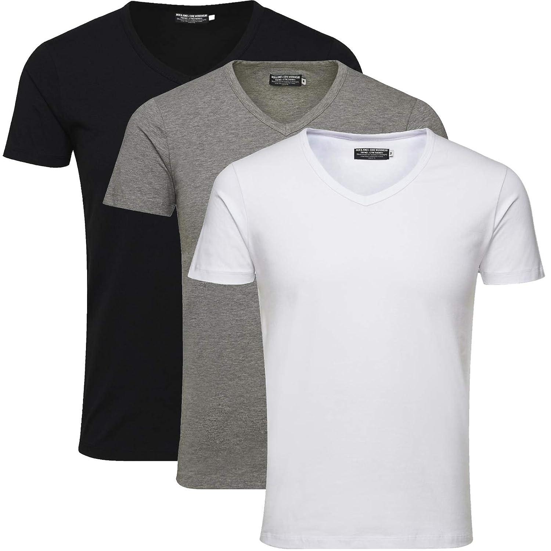 JACK /& JONES 3er Pack Herren T-Shirt Basic V-Ausschnitt Oder Rundhals Einfarbig Slim Fit in Wei/ß Schwarz Blau Grau inkl Gratis W/äschenetz von B46