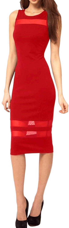 Unomatch Women Slim Bodycon Sleeveless Lace Party Dress Red