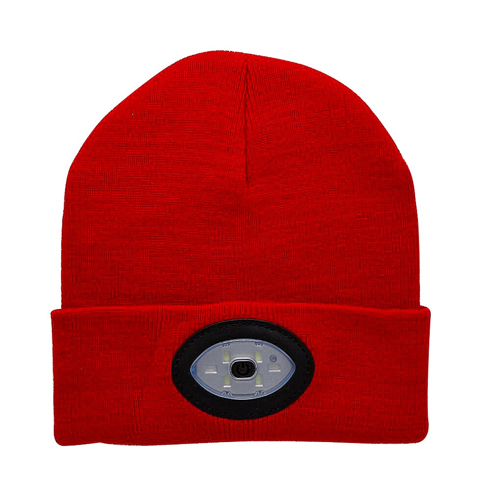 Mofek Bright LED Lighted Beanie Cap USB Rechargeable Headlamp Hat Unisex 6 LED Knitted Beanie Cap