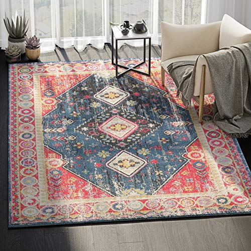 Abani Rugs Large Red & Navy Diamond Motif Vintage Distressed Area Rug Traditional Style Accent, Catalina Collection | Turkish Made Superior Comfort & Construction | Stain Shed Resistant, 4 x 6 feet