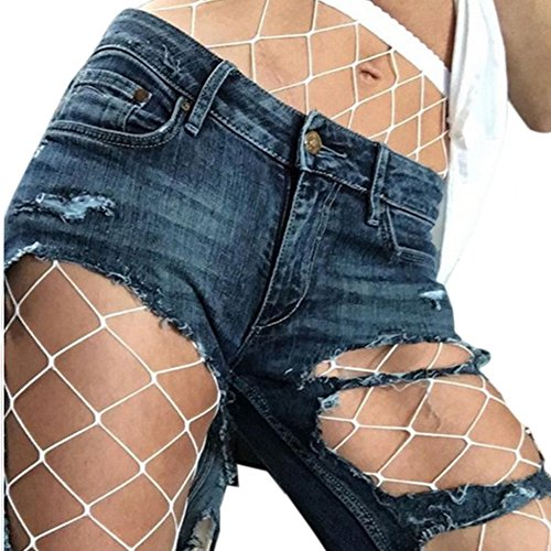 Chanyuhui Women Pants Sexy Hosiery Fishnet Elastic Thigh High Stockings Waisted Tights Pantyhose (Free Size, White)